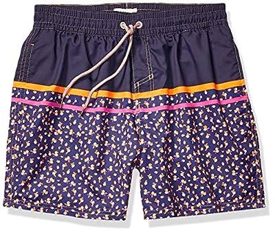 "Maaji Men's Printed Elastic Waist Mid Length Swimsuit Trunks 6"" Inseam, Sunset Paradise Blue Leaf, Large"