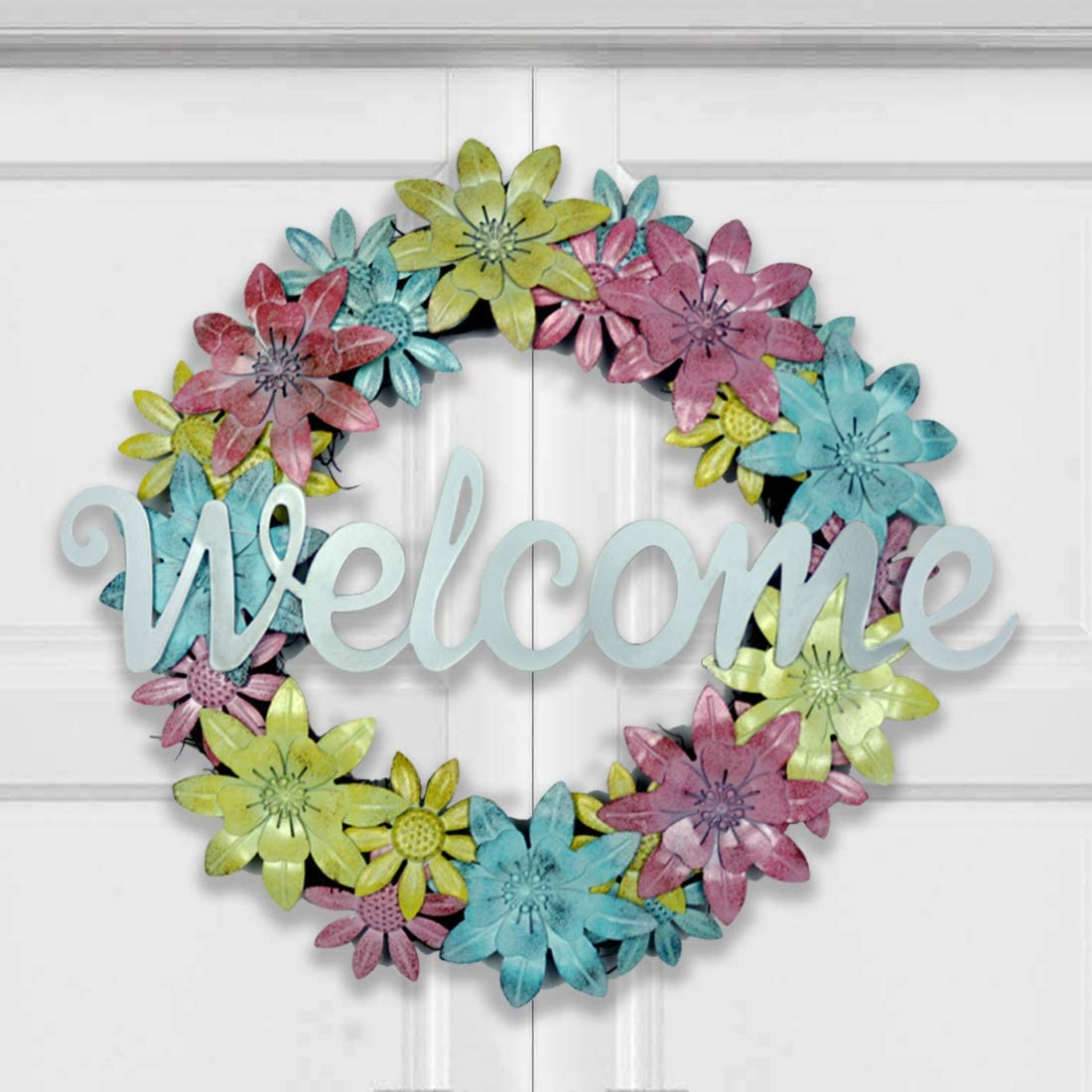 HOMirable 17 Inch Metal Flower Wreaths Front S for Door Max 59% Choice OFF Welcome