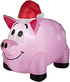 3.5 Ft Snowflake Pig w/ Santa Hat Lighted Christmas Airblown Inflatable