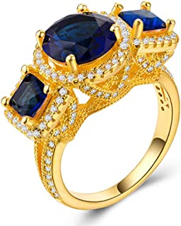 CHARHODEN Zirconia Princess-Cut Center Stone and Created Sapphire Ring, Size 8