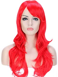 Anime Cosplay Synthetic Wig 11 Colors Heat Resistant Fiber Full Wig with Bangs Long Layered Curly Wavy Vogue 23'' / 58cm for Women Girls Lady Fashion and Beauty (red)