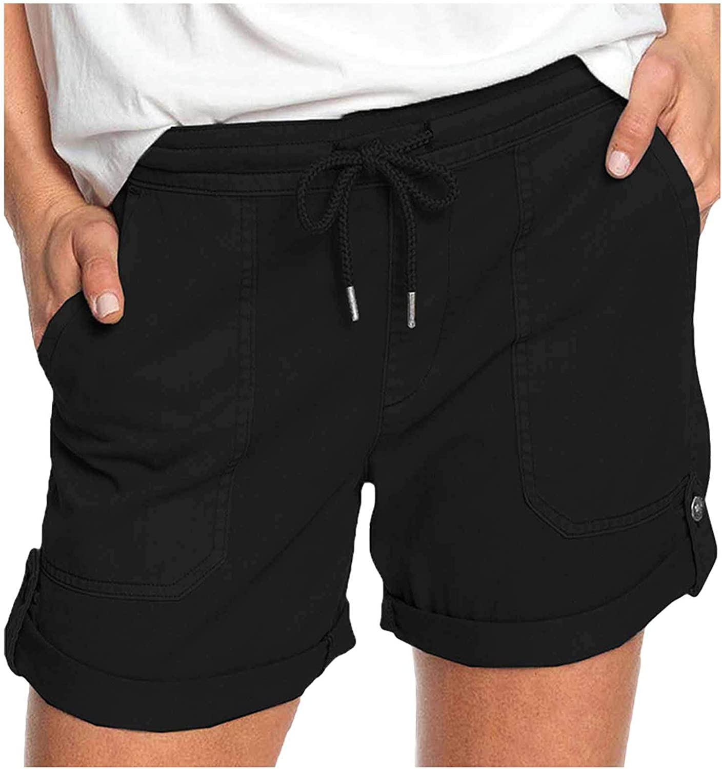 FUNEY Women Comfy Drawstring Casual Elastic Waist Cotton Shorts with Pockets,Workout Short Pants,Womens Shorts Casual S-5XL