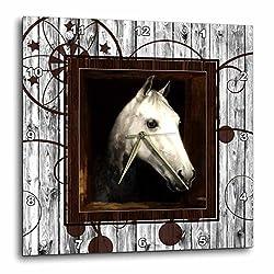 3dRose DPP_127613_1 Vintage Horse Portrait from 1910 by Caspar Von Reth Restored with Western Background. Wall Clock, 10 by 10-Inch