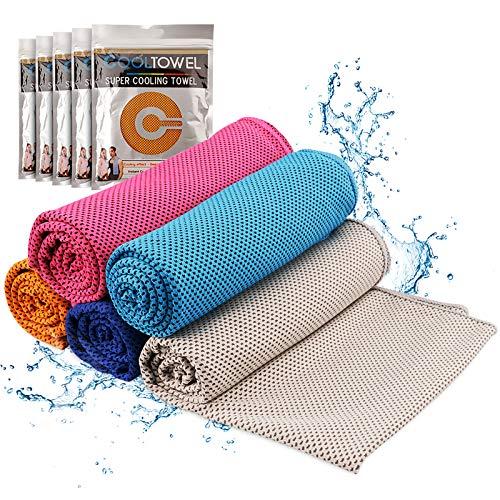 TEHEO erfrischendes weiches Sporthandtuch Set für Sport & Fitness schweißabsorbierende Handtuch Microfaser schnelltrocknende Handtücher 5 Stücke 30x100cm - Cooling Towel