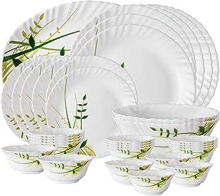 Larah By Borosil Herbs Opalware Dinner Set, 33-Pieces, White