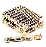 Mentos Choco Schokolade und Karamell, 24 Rollen Kaubonbons im Multipack, Kau-Dragees mit Toffee Geschmack -