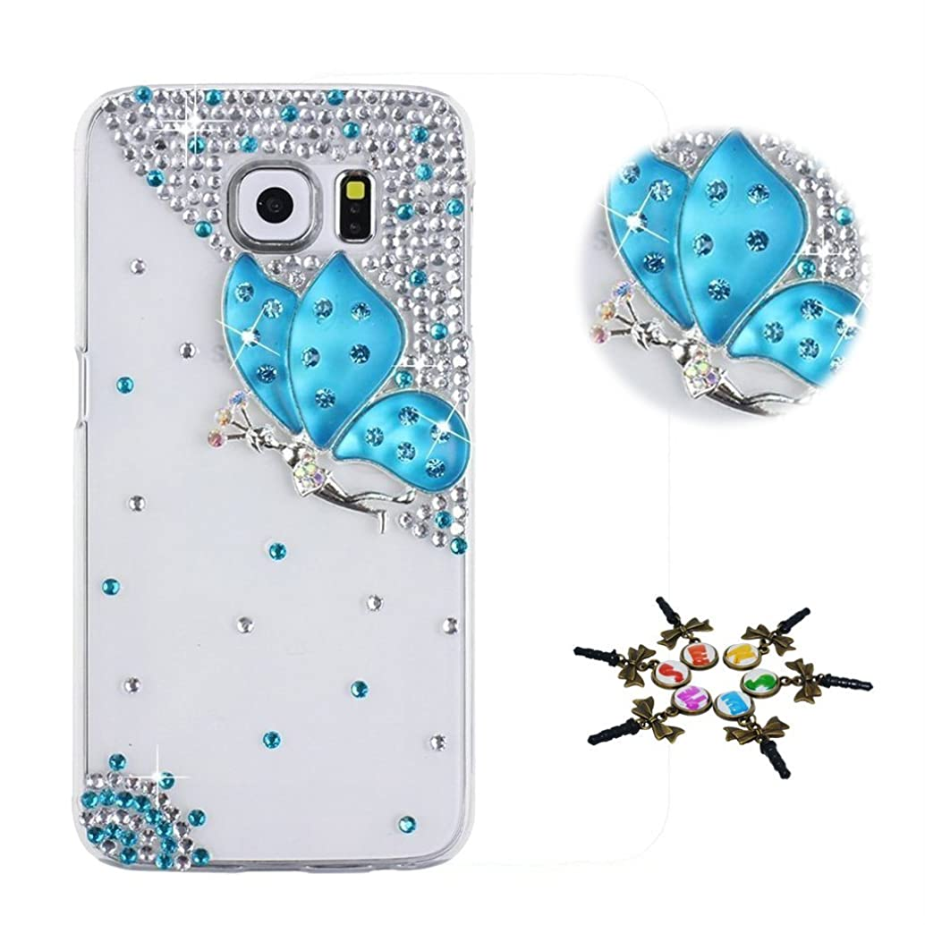 STENES Galaxy J7 (2018) Case - Stylish - 100+ Bling Crystal - 3D Handmade Fairy Butterfly Design Bling Cover Case for Samsung Galaxy J7 2018/Galaxy J7 Refine/Galaxy J7 Star - Blue