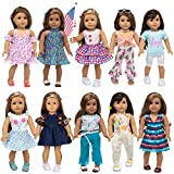ZITA ELEMENT Fashion 23 Pcs American 18 Inch Girl Doll Clothes Dress with Accessories for 18 Inch My Our Life Generation Doll and Other 18 Inch Dolls Clothes Clothing Dresses Outfits