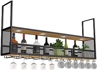L.HPT Casier à vin, Plafond métallique Suspendu rétro avec Spots, étagère Murale pour Bouteilles et Porte-Verres (Taille: ...
