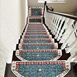 Seloom Bullnose Washable Non-Slip Stair Treads Carpet with Skid Resistant Rubber Backing Specialized for Indoor Wooden Steps (25.2x9.5 Inch, 13 Pieces, Blue,Landing mat are not Included)