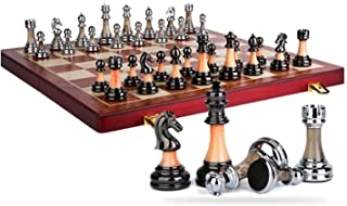 XTZJ Chess Set, Plastic Portable Folding Chess Board Game with Gold and Silver Chess Pieces - 2 Extra Queens - Storage Bag...