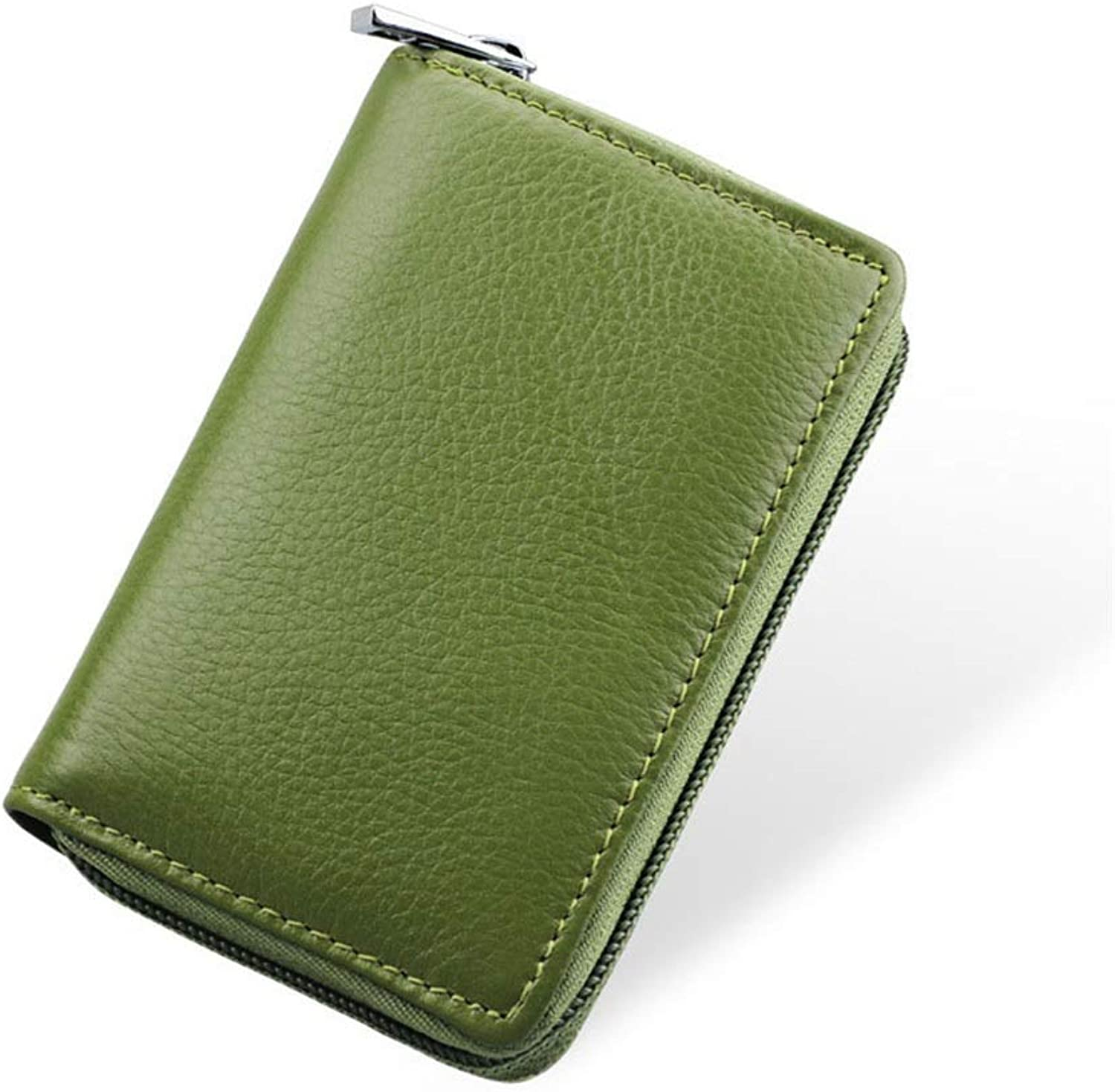 Sturdy Women's Credit Card Case Wallet Zipper Card Holder Purse Large Capacity (color   Green)