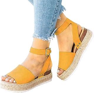 3b3bbb87e0c Athlefit Women s Platform Sandals Espadrille Wedge Ankle Strap Studded Open  Toe Sandals