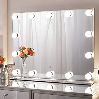 Chende 80x60cm Large Hollywood Makeup Mirror with 14 LED Light Bulbs, Lighted Vanity Mirror for Wall with Touch Control Di...