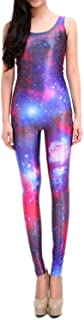Pink Queen Womens Digital Print Galaxy Sleeveless Bodysuit Jumpsuit Leotards