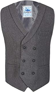 SIRRI Men's Boys Double Breasted Herringbone Tweed Waistcoats