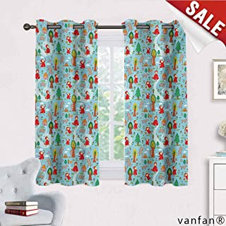 Fantasy Curtains for Girls Bedroom,Red Riding Hood Tale Themed Illustration with House and Big Bad Wold in The Forest for Bedroom, Nursery, Living Room,Multicolor W63 x L45