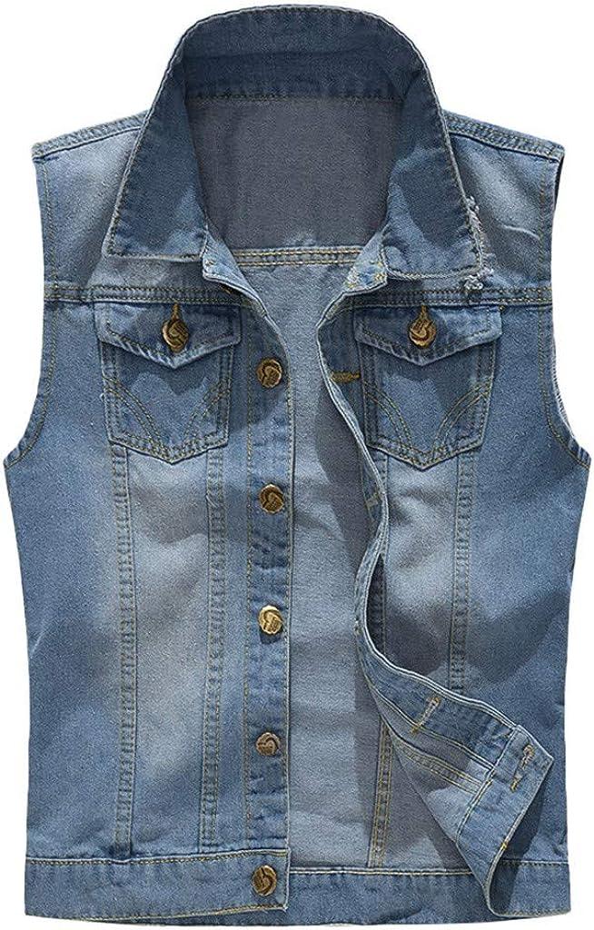 MODOQO Men's Jacket Vest Casual Sleeveless Slim Fit Lapel Lightweight Denim Outwear