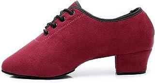 DKZSYIM Men's Classic Lace-up Leather Dance Shoes Rubber Sole Latin Modern Dancing Shoes,Model WQL