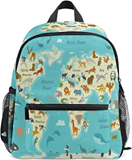 Mochila para niños con diseño de mapamundi de animales, para niños y niñas