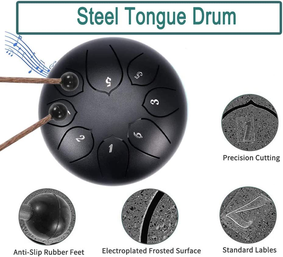 8 Notes 6 Inches Chakra Tank Drum Percussion,Tones Percussion Instrument Hand Pan Drum with Drum Sticks Carry Case Note Sticks for Meditation Yoga Sound Therapy Steel Tongue Drum