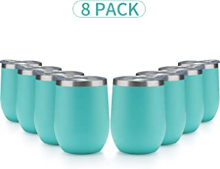 MUCHENG 12 Ounce Stemless Wine Glass Tumbler with Lid  Stainless Steel Double Wall Vacuum Insulated Travel Cup (8-Pack, Blue green)