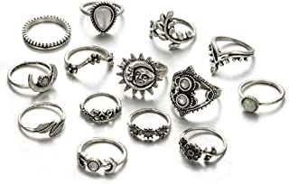 Women Vintage Knuckle Rings Retro Moon Sun Leaf Crystal Stackable Midi Finger Ring Set
