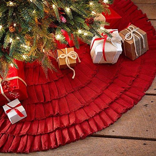 Red Burlap Ruffled Xmas Christmas Tree Skirt 48 Inches Holiday Decoration