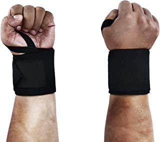 Wrist Wraps with Left & Right Thumb Loops - Professional Grade Wrist Support Braces Protection for Men & Women - Weight Lifting, Crossfit, Powerlifting, Strength Training, Planks(Black)