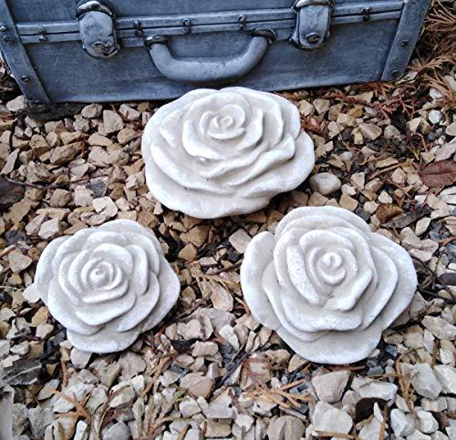 3 er Set Stein Rose Rosenblüte Blüte Blumen Steinguss frostfest wetterfest Garten Deko Handarbeit Handbemalt