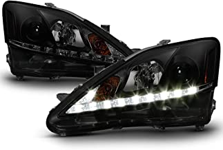 ACANII - For [Halogen Model] 2006-2010 Lexus IS250 IS350 LED DRL Balck Smoked Projector Headlights Headlamps, Left+Right