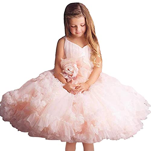 71152e257 Pink Flower Girl Dresses V-Neck Long Tulle Puffy Ball Gown Party Sleeveless  Bridesmaid Lace