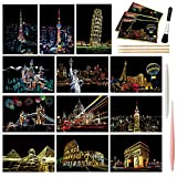 M MUGIT Magic Scratch Art Paper, Mini Envelope Postcard, Rainbow Night View Scratchboard for Adults and Kids, Art & Crafts Set: 12 Sheets Scratch Cards & Drawing Pen, Clean Brush (Landmark Building)