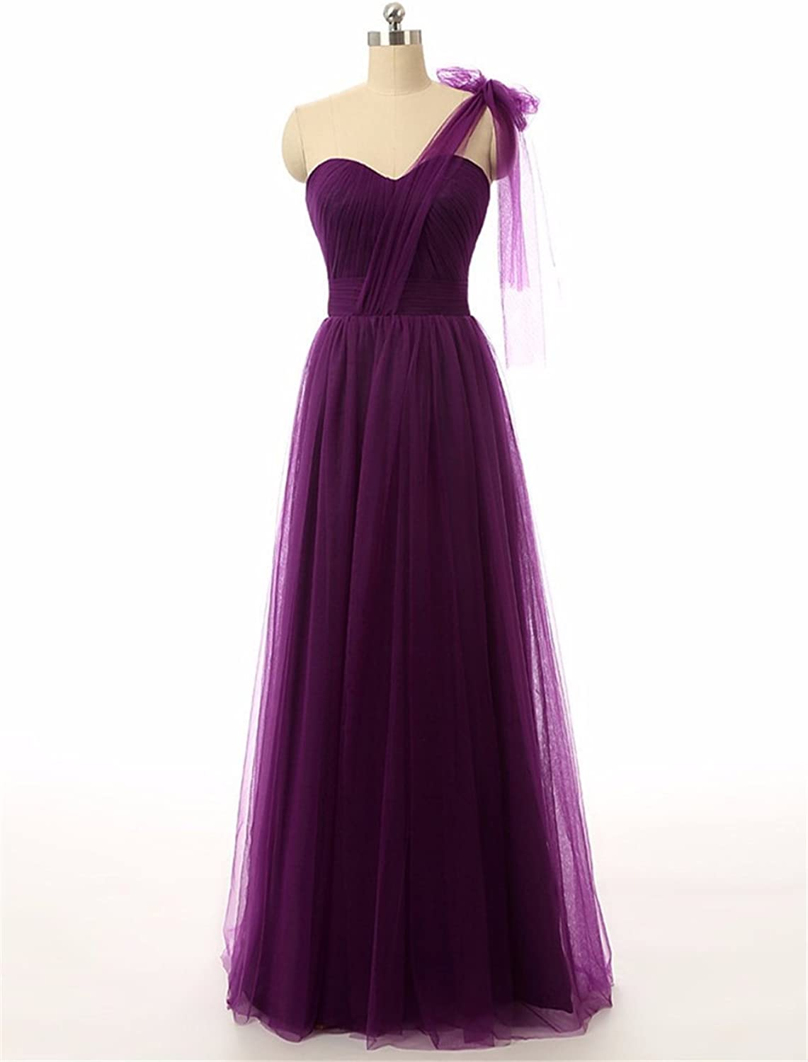 CharmingBridal Women's Tulle Formal Party Prom Long Bridesmaid Dress
