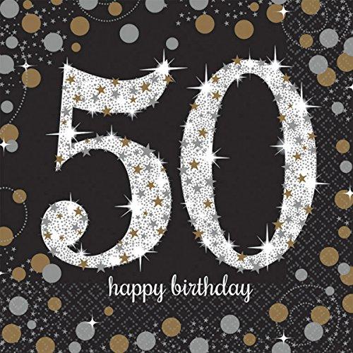 Pfeif auf's Alter 50 im Geschenke Set für Frauen und Männer zum Geburtstag Geldgeschenk Umschlag mit Kräuterlikör oder Piccolo 22 Karat Blattgold Gold pink rosa schwarz (Party Set 50 Gold 1004) - 7