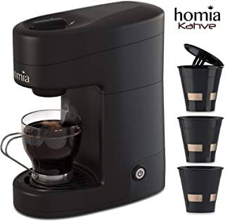 Coffee Maker Machine Single Serve - Electric Brewer for Ground Coffee, K-cup Сompatible, 12 oz (360 ml), 800W, 3.5 bar Pump, with Reusable Capsules and Automatic Shut-Off