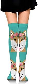 18 Almohada para perros Shiba Inu con líneas de corte Chica sobre los calcetines hasta la rodilla Muslo Medias altas 65 cm / 25.6 in