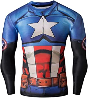 Men's Hero Printed Party Long Sleeve Outdoor Sport Fitness Shirt