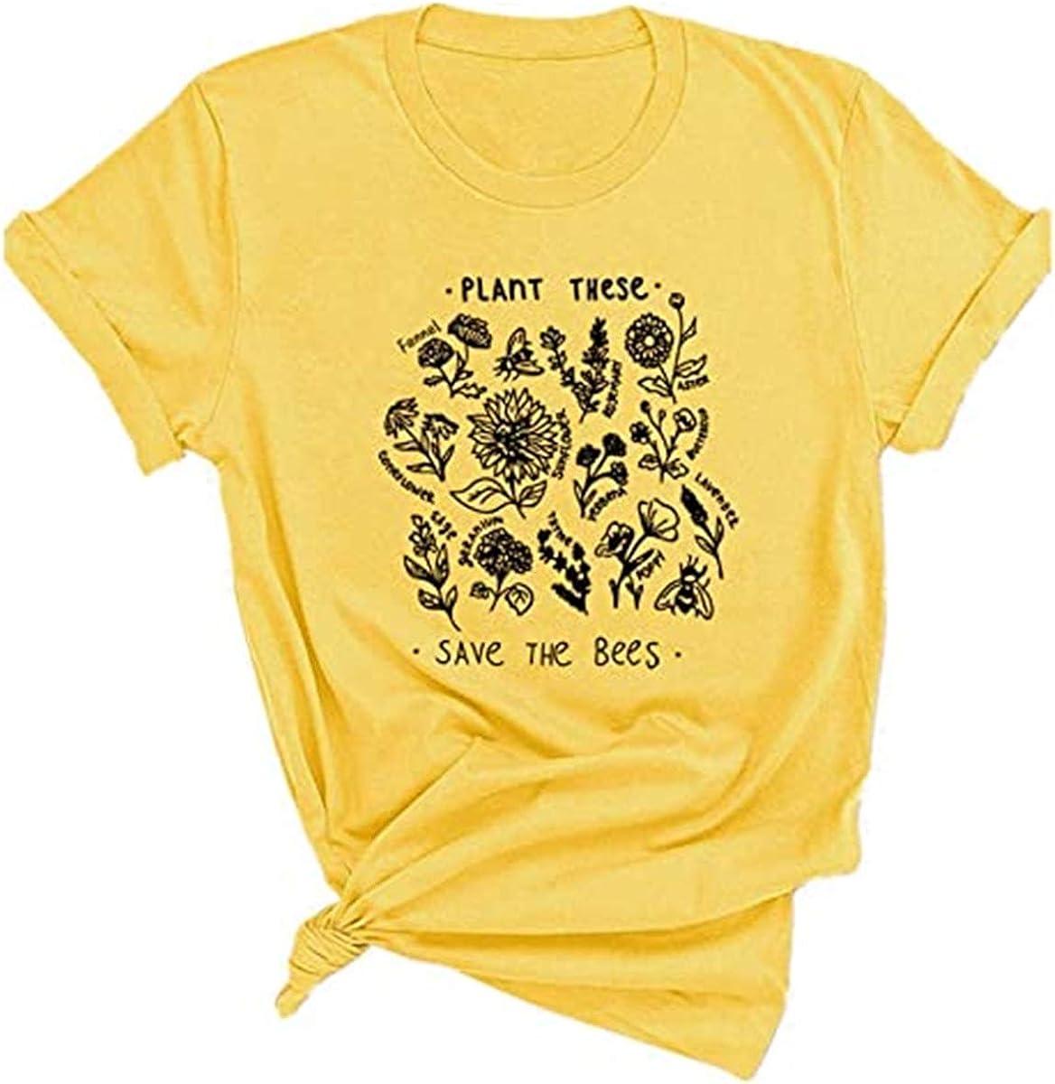Baron Custom Accessories Letter Printed Shirt Women Flower Graphic Tee Summer
