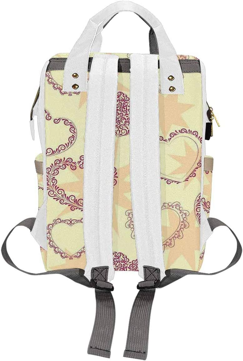 InterestPrint Multifunction Nappy Changing Bag for Dad Mom with Pockets Valentine's Day Human Heart, Love