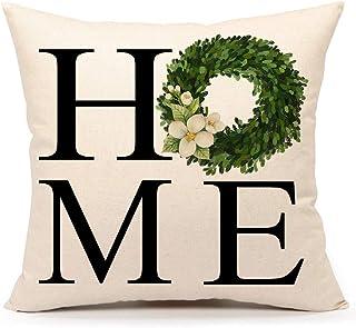 4TH Emotion Fall Boxwood Wreath Home Throw Pillow Cover Farmhouse Autumn Cushion Case for Sofa Couch 18x18 Inches Cotton L...