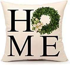 4TH Emotion Fall Boxwood Wreath Home Throw Pillow Cover Farmhouse Autumn Cushion Case for Sofa Couch 18x18 Inches Cotton Linen, Cotton, Boxwood Wreath Home, 18 X 18 inches