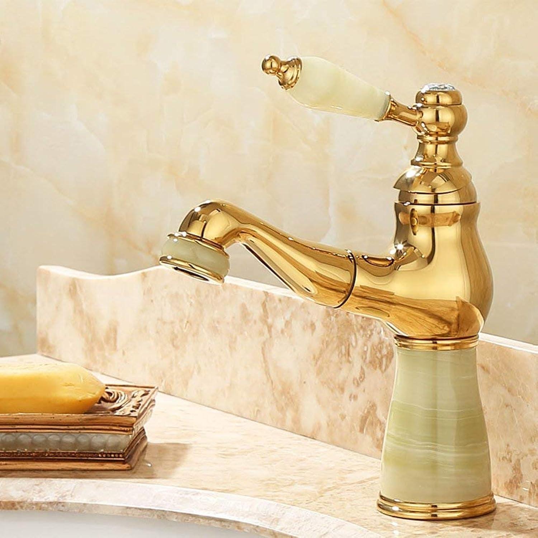 Oudan Pull type Bathroom sink taps Continental retro pure copper golden american-C