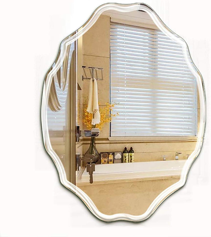 Mirror Frameless Wall-Mounted, Bathroom, Washbasin Wall Car Engraving Technology Toilet Makeup Vanity Mirror Decoration Mirror (4 Size)