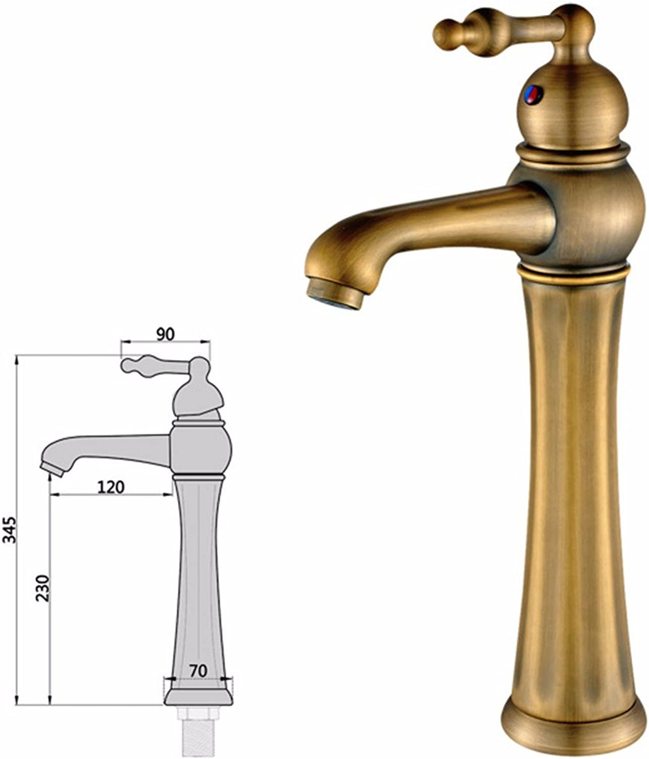 LHbox Basin Mixer Tap Bathroom Sink Faucet Continental antique faucet, copper-colord wash hand basins, surface basin, home basin faucet, hot and cold water wash-basin mixer