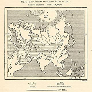 Arid Regions and Closed River Basins of Asia. Sketch map - 1885 - Old map - Antique map - Vintage map - Printed maps of Asia