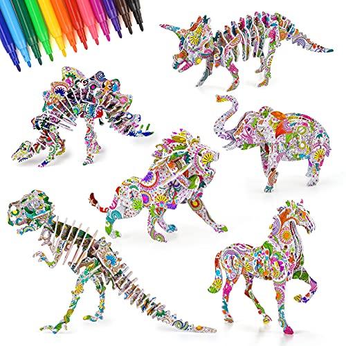 Regalos Niños Niñas 8 9 10 11 12 Años, Juguete Niño Niña 6 7 8 9 Años Educativos Juegos Niños 7-12 Año Juguetes Dinosaurios para Niños Niñas DIY Art Manualidades Puzzle 3D Regalos Cumpleaños 10 Niños