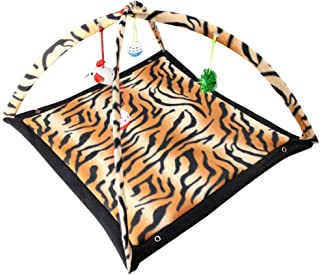 Hankiki Cat Activity Play Mat Pet Kitten Padded Bed with Hanging Toy Ball and Mice