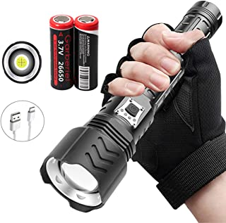 Garberiel XHP90 USB Rechargeable 9000 High lumens Flashlight 5 Modes Zoomable Super Bright Flash light with Batteries Best...