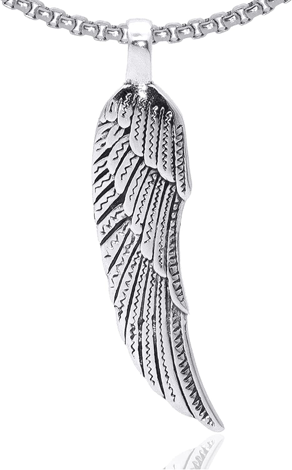 Fusamk Punk Stainless Steel Wing Pendant Feather Necklace,24